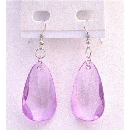 D176  Polygan Bead Earrings Cool Lilac Bead Dollar Earrings Soothing Color Earrings