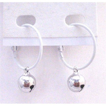 D183  White Hoop Earrings Silver Jingle Bell Dangling Earring Fantastic Quality Just Dollar Earrings