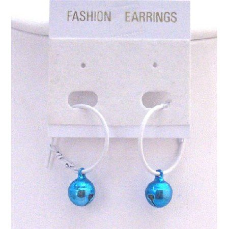D188  Christmas Gift Affordable Jewlery Jingle Bell Earrings Blue Bell Dangling From White Hoop