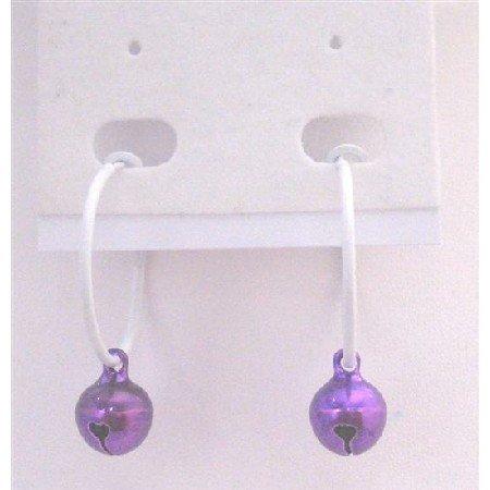 D185  Hoop Earrings Only Dollar Purple Jingle Bell Dangling From White Hoop Earrings