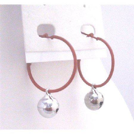 D189  Affordable Jewelry Exclusively Christmas Gift Brown Hoop Dangling Silver Jingle Bell