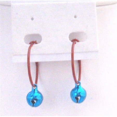 D192  Blue Bell Dangling Hoop Earrings Very Cute Jewelry For Dollar