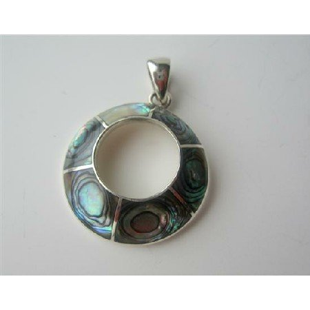 SPEN015  Abalone Inlaid Round Pendant Sterling Silver Round Pendant