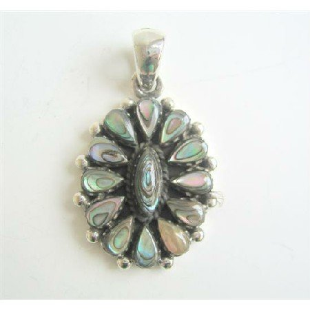 SPEN022  Stylish Abalone Sterling Silver Pendant In Oval shape Weight 6.5 gm