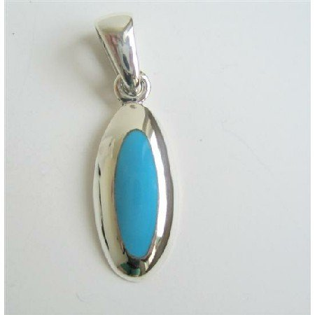SPEN019  Sterling Silver Stylish Turquoise Pendant 92.5 Sterling Silver Pendant Weight 5gms
