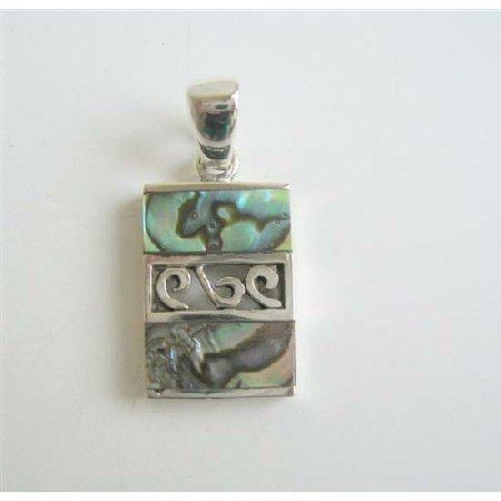 SPEN021  Designed Sterling Silver Sequare Abalone Shell Pendant Weight 6.1 gm