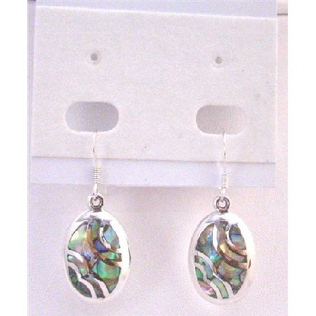 SER065  Abalone Shell Inlaid Sterling Silver Earrings Genuine 92.5 Stamped Earrings