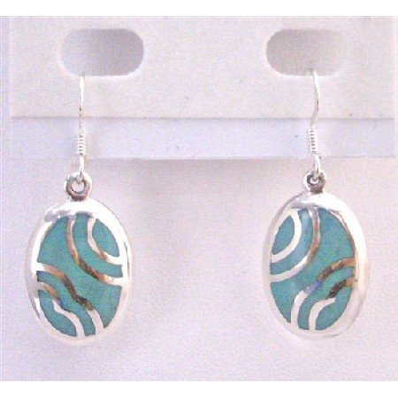 SER067 Earrings Affordable Fabulous Genuine Sterling Silver w/ Green Turquoise Inlaid