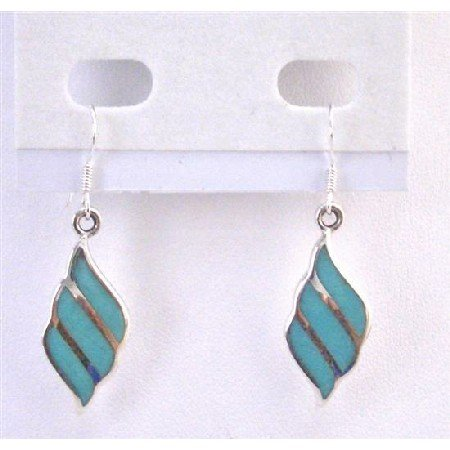 SER078  Genuine Sterling Silver 92.5 Cute Earrings Turquoise Inlaid Earrings