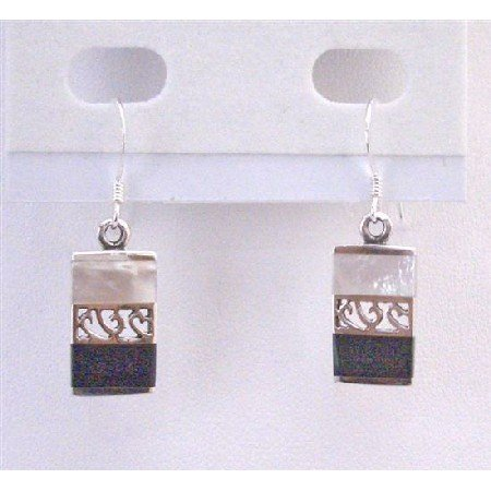 SER074  Fascinating Sterling Silver Earrings Mother Of Pearls & Onyx Stone Inlay New Combo
