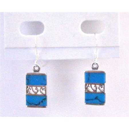 SER072  Dark Spider Turquoise Inlaid Sterling Silver 925 Earrings Genuine Sterling Jewelry