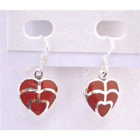 SER069  Coral Red Heart Earrings Sterling Silver Gift Jewelry Inexpensive Sterling Jewelry