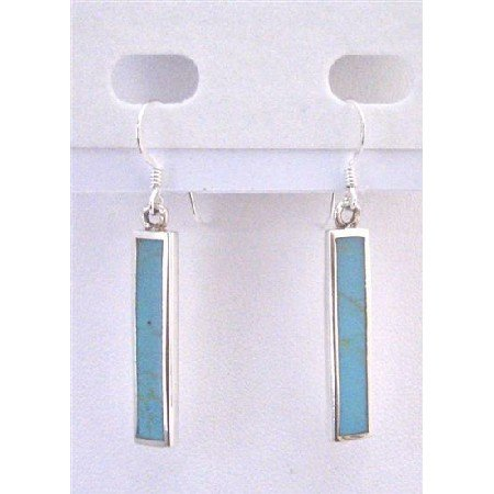 SER071  Stylish Dangling Green Turquoise Sterling Silver Gift Jewelry Inexpensive Sterling Jewelry