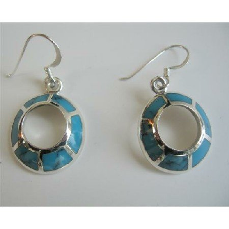 SER015  Round Sterling Silver 92.5 Cute Earrings Turquoise Inlay Earrings