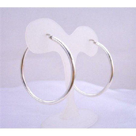 SER055  Sterling Silver Hoop Earrings Endless Wire Sterling Silver Earrings Weight 11.5 gms