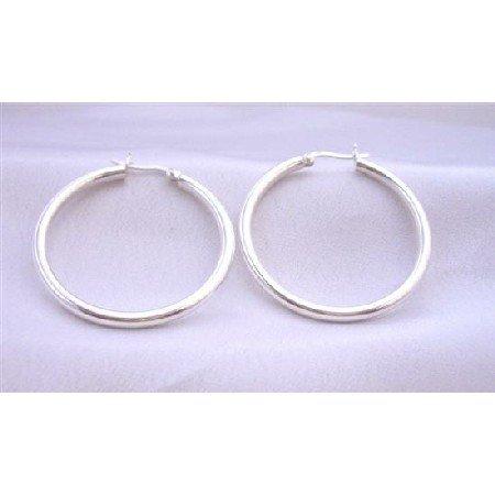 SER056  Sterling Silver Wire Hoop Earrings Endless Hoop Earrings Weight 9.5 gms