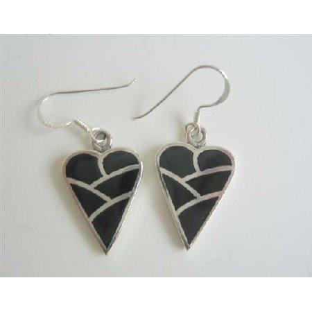 SER050  Sterling Silver Heart Genuine 92.5 Sterling Silver Onyx Heart Earrings