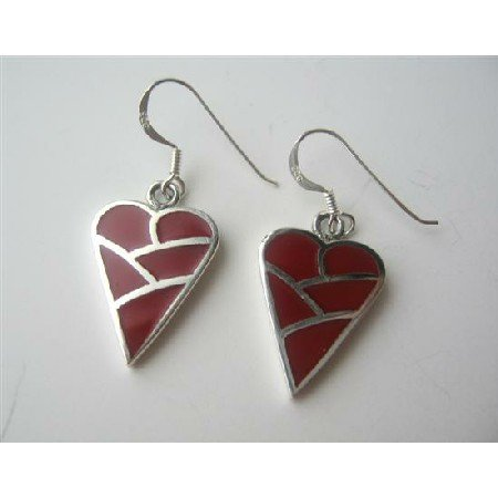 SER039  Coral Heart Inlaid Sterling Silver Inlaid Heart Red Coral Sterling Silver Earrings