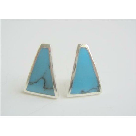 SER046  Sexy Stunning Turquoise Earrings Genuine Silver 925 Inlaid Turquoise Earrings