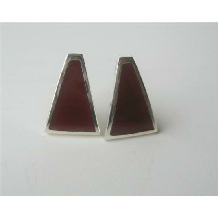 SER033  Sterling Silver Inlaid Coral Red Sterling Silver Earrings