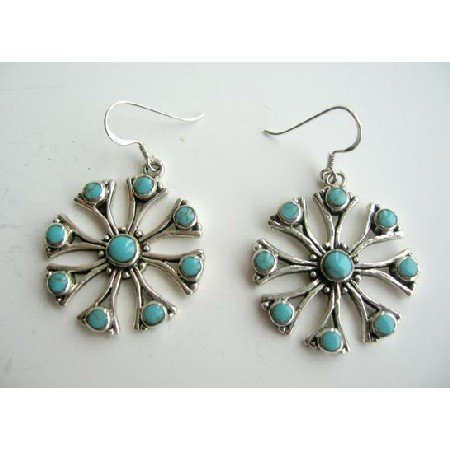 SER006  Sterling Silver Green Turquoise Inlay Earrings Genuine Sterling Silver Flower Earrings