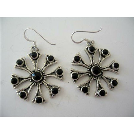 SER025  Sterling Silver Onyx Inlay Earrings Genuine Sterling Silver Flower Earrings