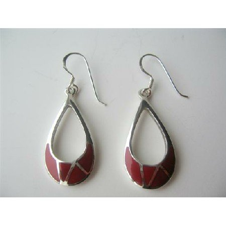 SER031  Coral Inlay Sterling Silver 925 Inlaid Sterling Silver Earrings