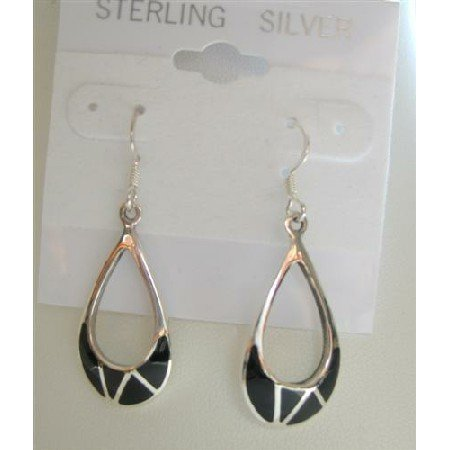 SER019  Onyx Inlaide Chandelier Earrings Sterling Silver 925 Genuine Sterling Silver Stamped Back