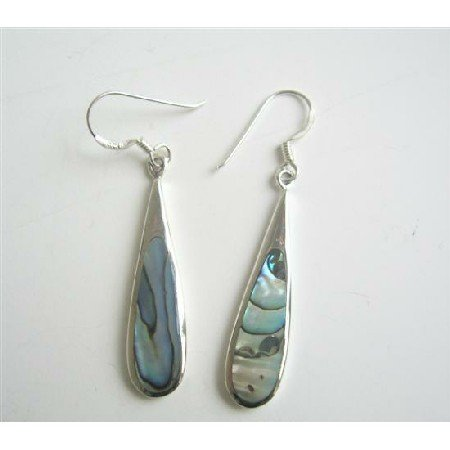 SER045  Abalone Shell Inlaid Genuine Sterling Silver 92.5 Earrings