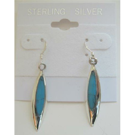 SER021  Inlaid Turquoise Inlaid Sterling Silver Earrings