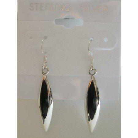 SER022  Inlaid Black Onyx Genuine Sterling Silver Earrings