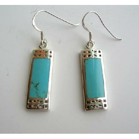 SER008  Sterling Silver 925 Genuine Turquoise Inlay Earrings