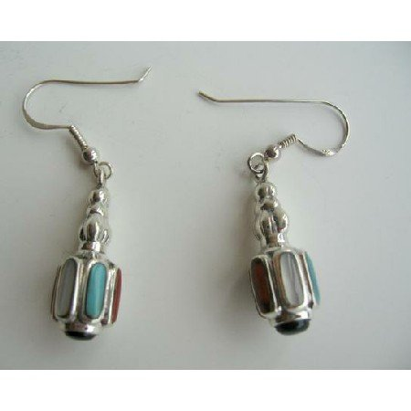 SER004  Inlay Sterling Silver & Multi-Color Mother of Pearls Earrings