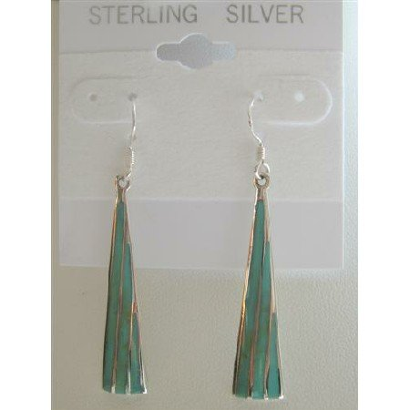 SER017  Green Turquoise Chandelier Inlaid Genuine Sterling Silver 925 Earrings