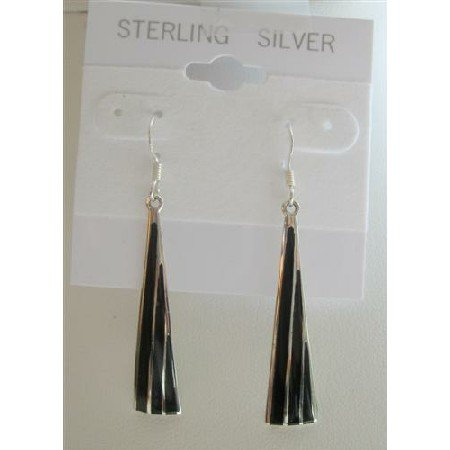SER018  Black Onyx Chandelier Earrings Sterling Silver 925 Earrings