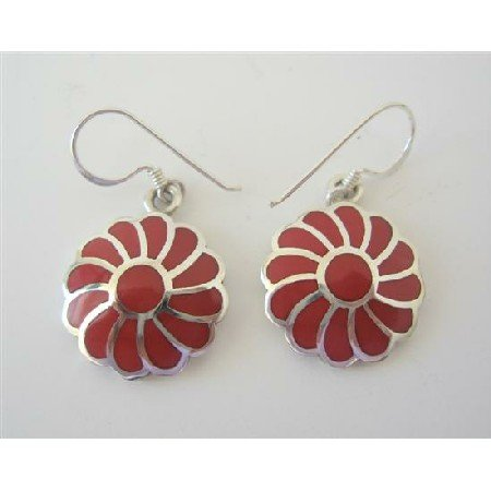 SER030  Coral Inlay Flower Earrings 925 Silver Flower Genuine Sterling Silver Earrings