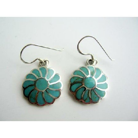 SER007  Turquoise Flower Earrings 925 Silver Flower With Genuine Turquoise Inlay Earrings
