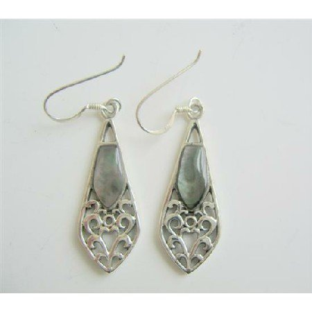 SER051  Shell Embedded Sterling 92.5 Silver Earrings Inlay Earrings