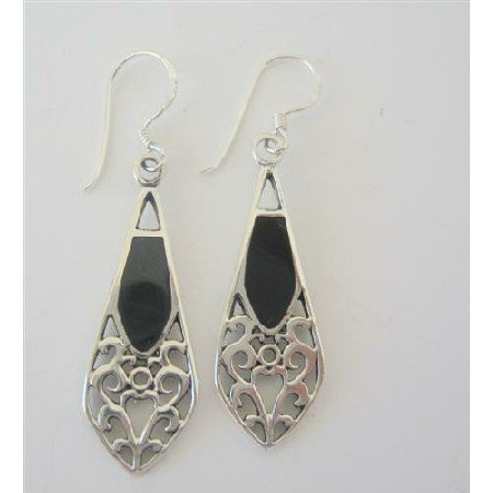 SER028  Onyx Inlaid Genuine Sterling Silver 925 Earrings