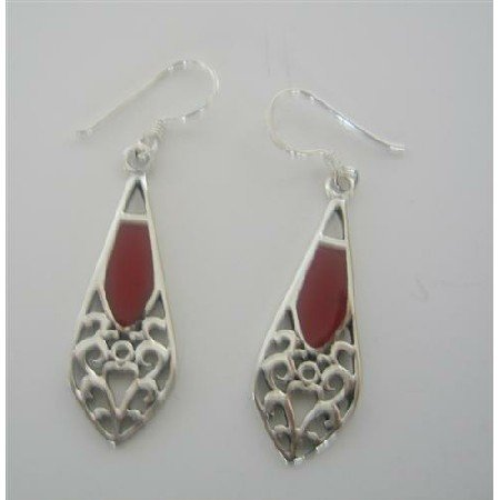 SER013  Sexy Sterling Silver Coral Inlay Earrings