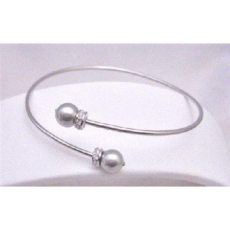 TB765 Grey Bracelet Lite Grey Bracelet Very Dainty Sophisticate w/Diamante Spacer Cuff Bracelet