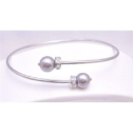 TB764  Purple Mauve Pearls Jewelry Affordable Mauve Swarovski Pearls Silver Rondells Cuff Bracelet