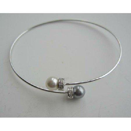 TB302  Pearls Wire Bracelet Swarovski Pearls Grey & Cream w/ Silver Rondells Bracelet