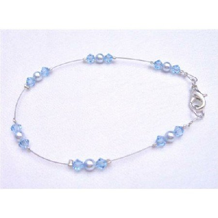 TB790  Aquamarine Crystals Jewelry Bridemaids Flower Girl Lite Blue Pearls Wire Bracelet