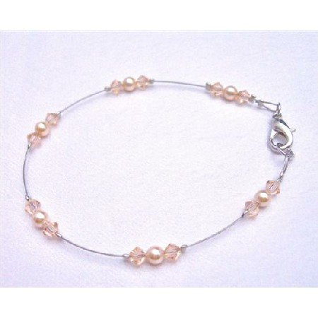 TB780  Peach Dress Matching Jewelry Exclusively Wedding Bridal Bridemaids Bracelet