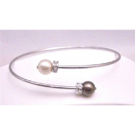 TB768 Champagne&Brown Pearls Cuff Bracelet Exclusively Wedding Jewelry With Diamante