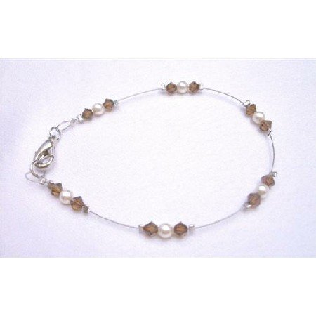 TB782 Genuine Swaroski Ivory Pearls & Smoked Topaz Beautiful Lobster Clasp Bracelet