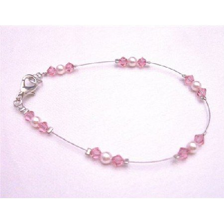 TB779  Bridemaids Rose Pearls Swarovski Rose Crystals Lobster Clasp Bracelet