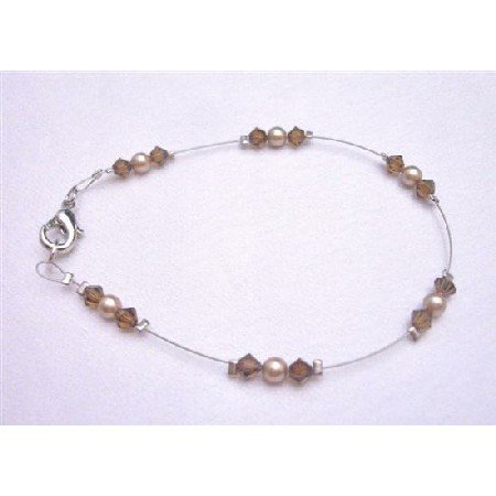 TB789  Wedding Bronze Pearls Brown Crystals Jewelry High Quality With Reasonable Price Bracelet