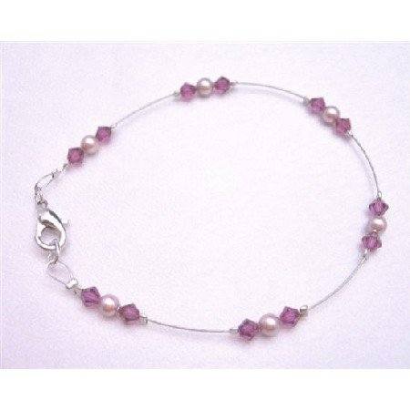 TB777  Fuschia Crystals Lobster Clasp Bracelet Genuine Rose Pearls Wedding Bridal Party Bracelet
